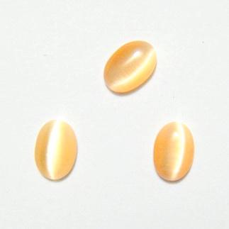 Cabochon ochi de pisica, portocaliu deschis, 7x5x2mm 1 buc
