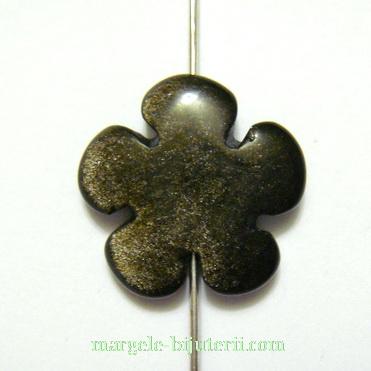 Obsidian auriu, floare cu 5 petale, 20x6mm 1 buc
