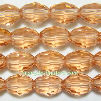 Margele sticla, multifete maro-auriu, bob orez 10x8mm 1 buc