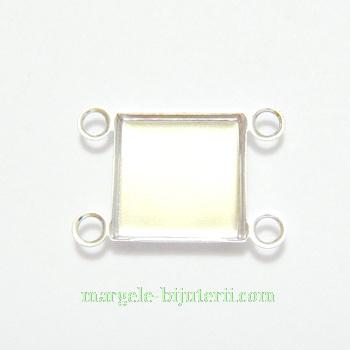 Conector / link cabochon, argintiu, patrat,10x10mm 1 buc