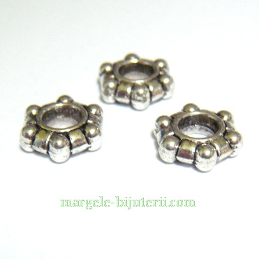 Distantiere tibetane, tip Pandora, 12x11x4mm, orificiu 5mm 1 buc