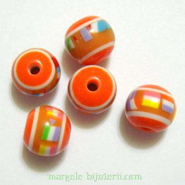 Margele rasina, portocalii cu insertii multicolore, 12x10mm 1 buc