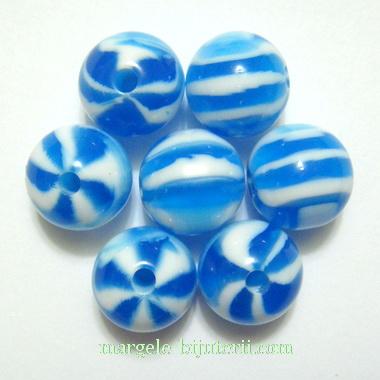 Margele rasina, albastre cu insertii albe, 10mm 1 buc