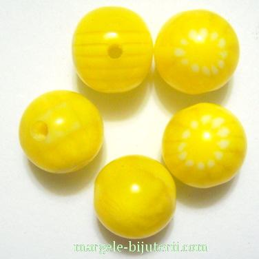 Margele rasina, galbene cu floricele albe, 12mm 1 buc