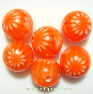 Margele rasina, portocaliu roscat cu floricele albe, 12mm 1 buc