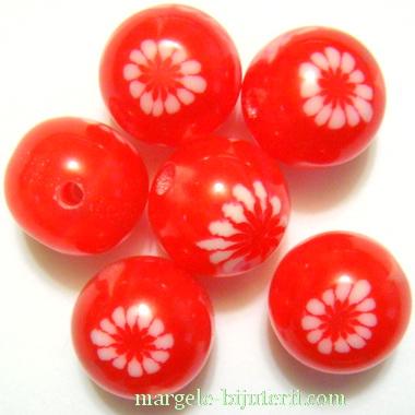 Margele rasina, rosii cu floricele albe, 12mm 1 buc