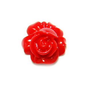 Cabochon rasina, floare rosie, 16x9mm 1 buc