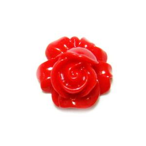 Cabochon rasina, floare rosie, 16x9mm 1 buc