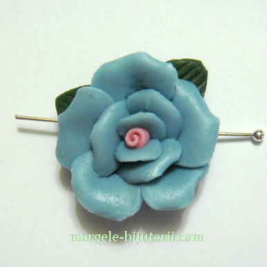 Margele portelan, lucrate manual, floare albastra, 23x11mm 1 buc