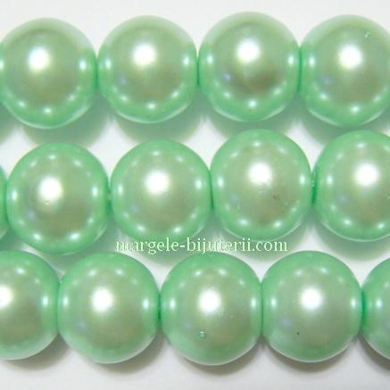 Perle sticla, verde-pal, 14mm 1 buc