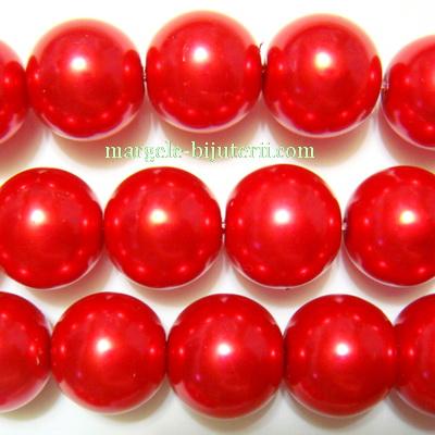 Perle sticla, rosii, 14mm 1 buc