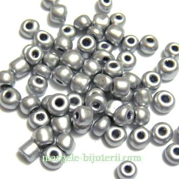 Margele nisip argintii, opace, sidefate, 4mm 20 g