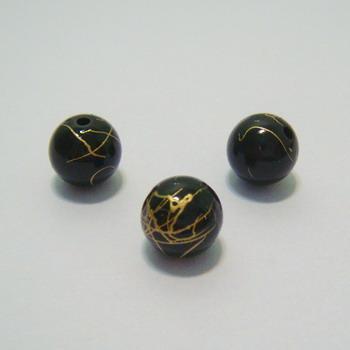 Margele plastic negre cu auriu 10mm 10 buc