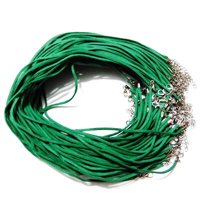 Snur faux suede, 3x1.5mm, verde, cu inchizatoare, 45 cm 1 buc