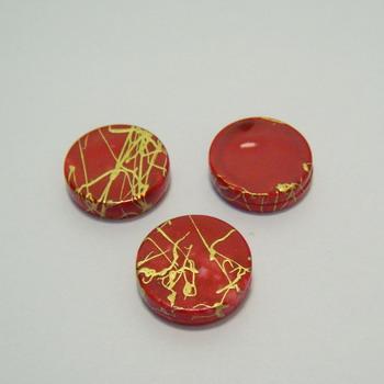 Margele plastic plate rosii 18mm 1 buc