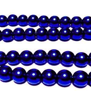 Perle sticla, albastru-cobalt, 8mm 10 buc