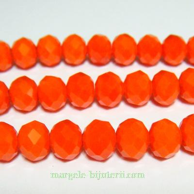 Margele sticla, portocalii, multifete, rondel 8x6mm 1 buc