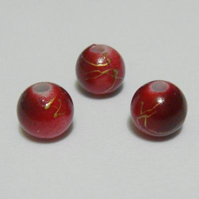 Margele plastic rosu inchis cu auriu, 8mm 10 buc