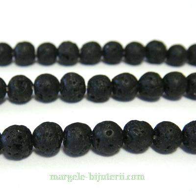 Lava sferice, negre, 6.5mm 1 buc