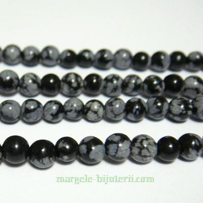 Obsidian fulg de nea, 6.5mm 1 buc