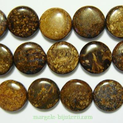 Bronzite rotund, plat, 14x5mm 1 buc