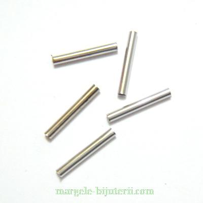 Distantiere tubulare, argintiu inchis, 15x2mm, interior 1.5mm 1 buc
