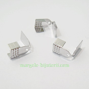 Capat prindere panglica, argintiu inchis, 7x12mm 10 buc