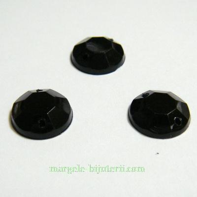 Aplice acrilice pentru cusut, multifete, negre, 12x4mm 1 buc