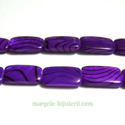 Perle sidef, plate, dreptunghiulare, violet, 14x8x3mm 1 buc