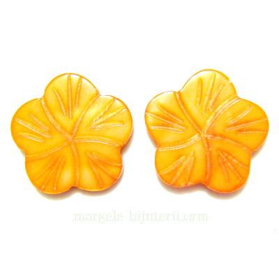 Flori sidef, cu 5 petale, portocalii, 18x3mm 1 buc