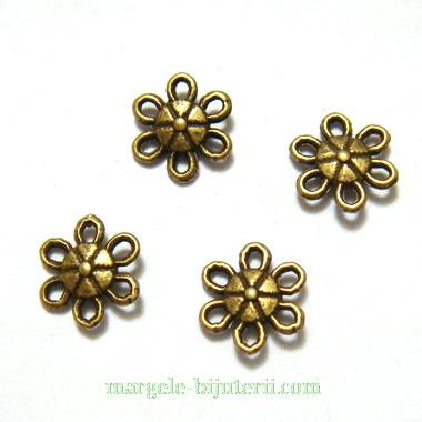 Conector/link bronz, floare cu 6 petale, 9x3mm 1 buc