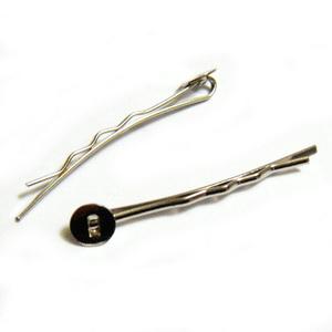 Clama(agrafa) prindere par, argintiu inchis, 45mm, platou 7mm 1 buc