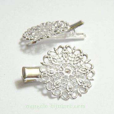 Clama(agrafa) prindere par, argintie, 30mm, platou filigran 25mm 1 buc