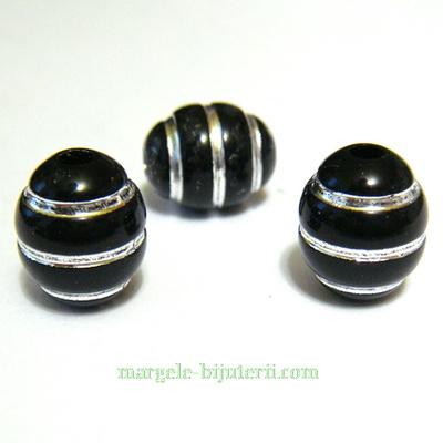 Margele plastic negru cu liniute argintii, 12x10mm 1 buc