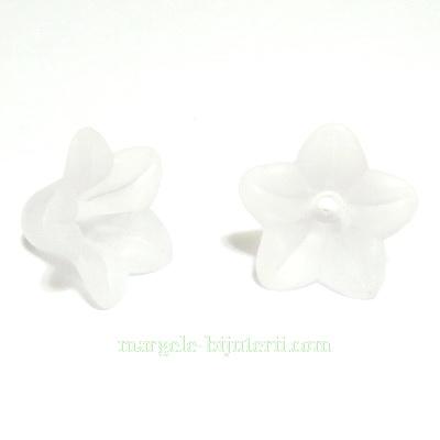 Flori acrilice, frosted, albe, 16x12mm 1 buc