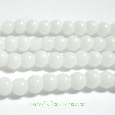 Margele sticla, albe, 4mm 10 buc