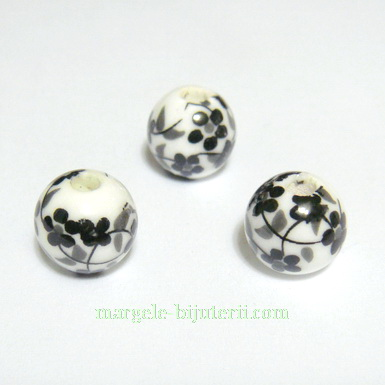 Margele portelan, albe cu flori negre, 10mm 1 buc