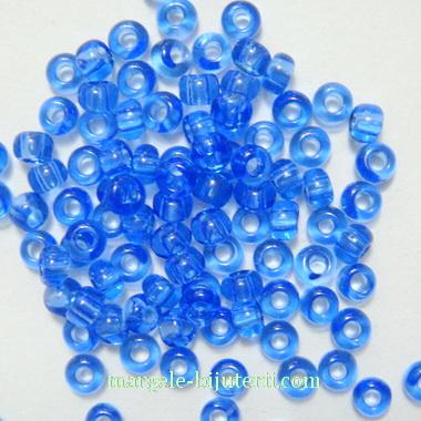 Margele nisip, Rocaille Preciosa 8/0-3mm, albastre, transparente 20 g