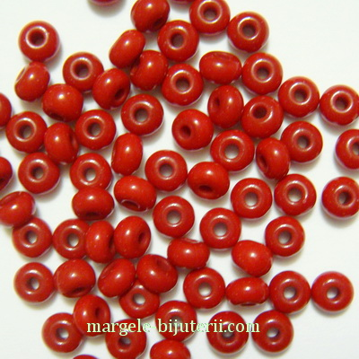 Margele nisip, Rocaille Preciosa 6/0-4mm, rosu inchis, opace 20 g