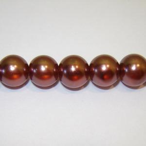 Perle sticla semitransparente maro 12mm 10 buc