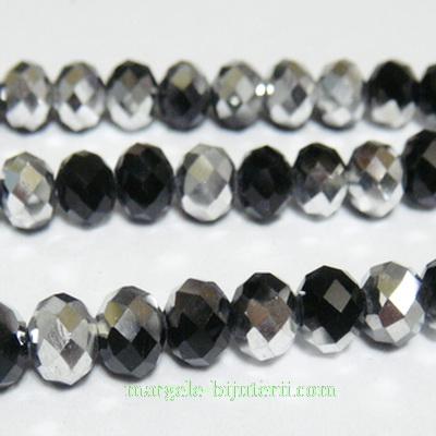 Margele sticla, negre, electroplacate, 6x4mm 10 buc