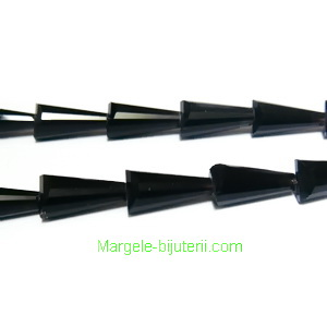 Margele sticla, conice, multifete, negre, 7x5x3mm 1 buc