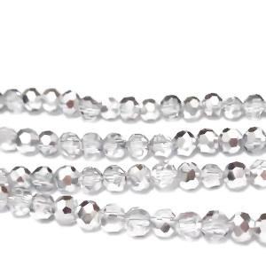 Margele sticla, multifete, argintii, electroplacate, 4x3.6mm 10 buc