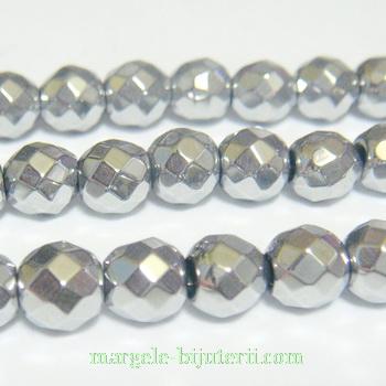 Margele hematite, nemagnetice, placate argintii, multifete, 5.6mm 1 buc
