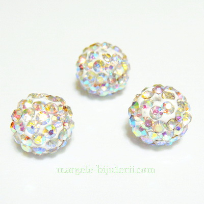 Margele shamballa albe, AB, 10mm, semigaurite 1 buc