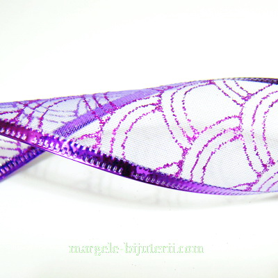 Panglica  ribbon violet cu lurex violet, latime 4cm, rola 2.7 metri 1 buc
