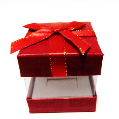Cutie carton si acetofan, rosie, 5x5x5cm 1 buc