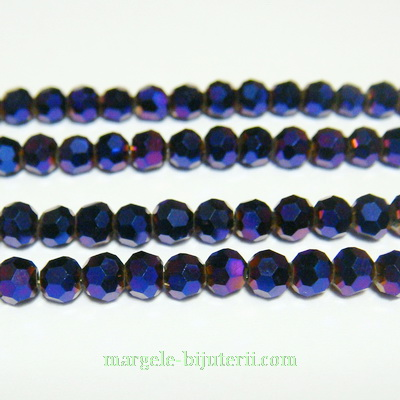 Margele sticla multifete metalizate, violet, 4.3x3.6mm 10 buc