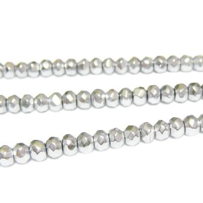 Margele hematite, argintii, multifete, 3.5x2.5mm 1 buc