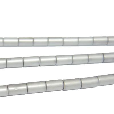 Hematite nemagnetice, argintii, mate, tub 5x3mm 1 buc